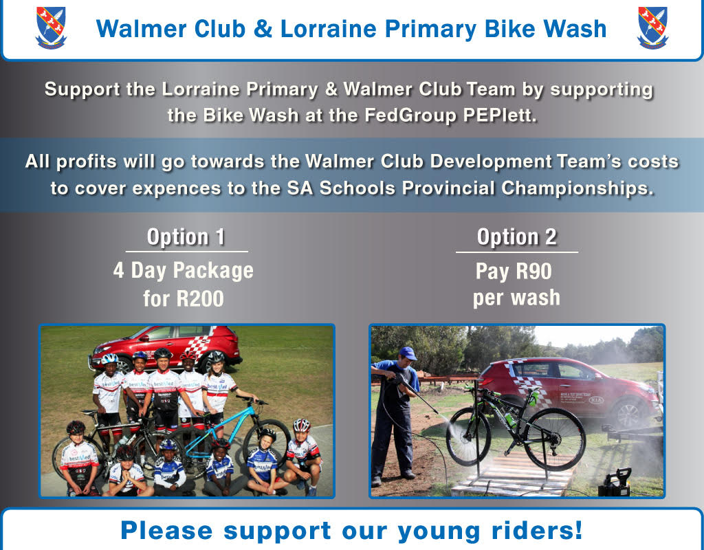 fedgroup peplett walmer club & lorraine primary bike wash